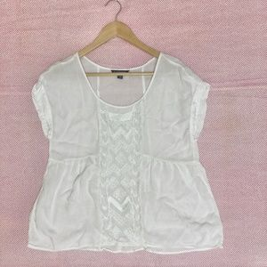 Flowy relaxed white Rayon Blouse top short sleeve